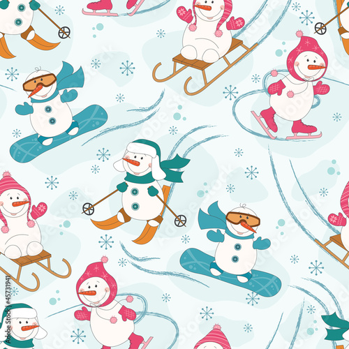 Cotton fabric Seamless pattern with winter sport  snowman