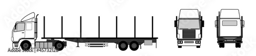 Truck with empty stake trailer
