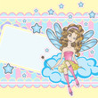 Little fairy sitting on the cloud design template