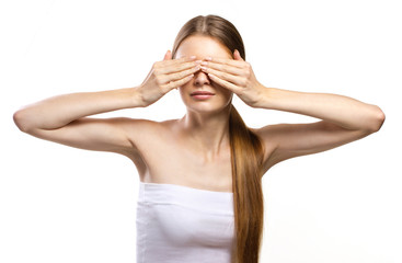 youth woman clossing eyes with her hands