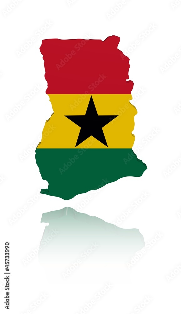 Ghana map flag reflection illustration wall sticker