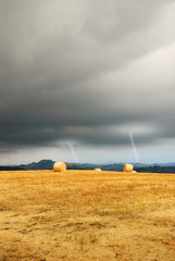 lightning at horizon over the countryside
