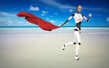 Humanoide con mantel Rojo en la playa
