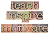 Fototapety teach, inspire, motivate