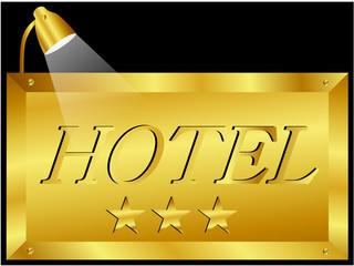Schild - Hotel 3 Sterne in Gold Beleuchtet