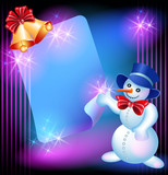 Snowman, chiming bells and signboard poster