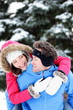 Happy winter couple fun