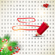"Solution of puzzle.Text "" Merry Christmas"" highlighted with red"