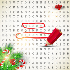 """Solution of puzzle.Text """" Merry Christmas"""" highlighted with red"""
