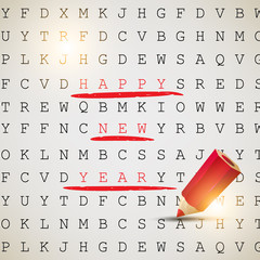 Happy New Year! Text highlighted with red pencil. Vector backgro