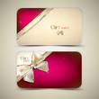 Collection of gift cards with ribbons. Vector