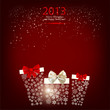 Elegant  Christmas background with gift boxes made from snowflak