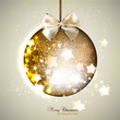Elegant shiny christmas ball with ribbon. Christmas background