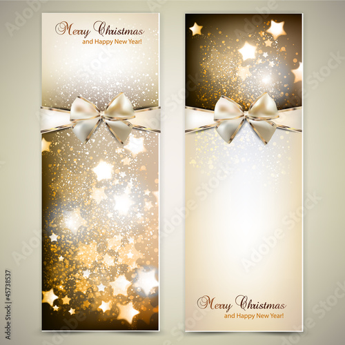 Greeting cards with white  bows and copy space. Vector illustrat