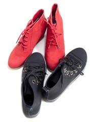 chaussures couple homme femme rouge noir