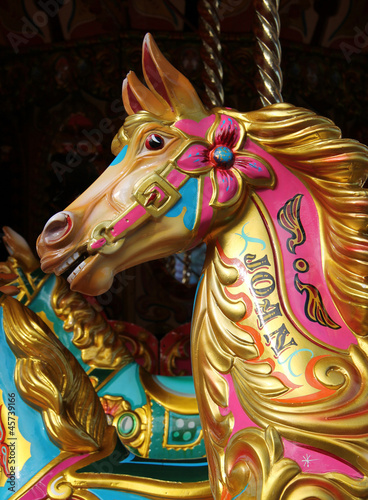 The Colourful Head of a Fun Fair Carousel Horse.