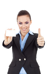 woman holding card thumbs up