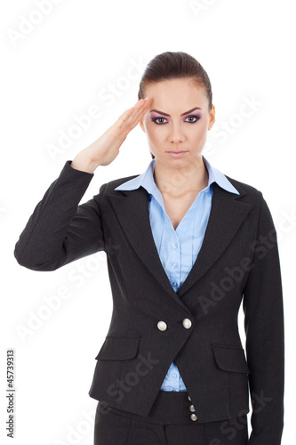 business woman saluting