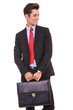 young business man holding a briefcase