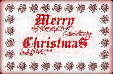 Vintage Christmas card orned with rose.