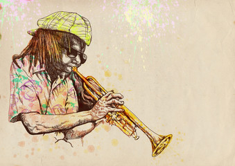 trumpeter, hand drawing, this is original sketch