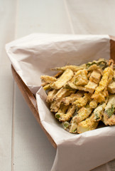 Zucchini vegetables fried in breadcrumbs