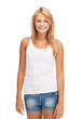 smiling teenage girl in blank white t-shirt