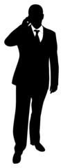 Silhouette eines telefonierenden Geschäftsmannes