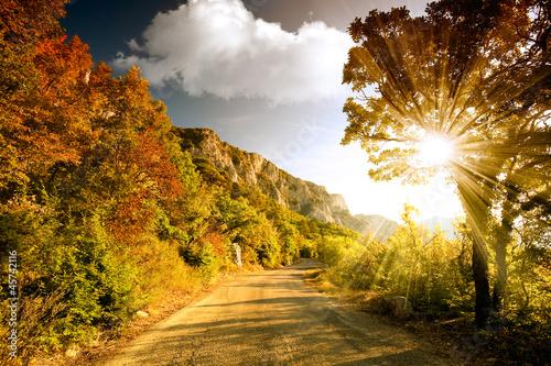 Fototapeta Mountain road at sunset