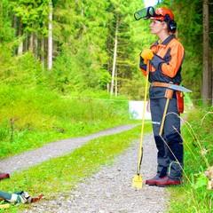 Forstarbeiterin mit Schutzkleidung im Wald