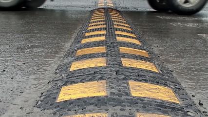 Car path through a speed bump speed, b
