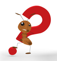 3D Ant With A Red Question Mark