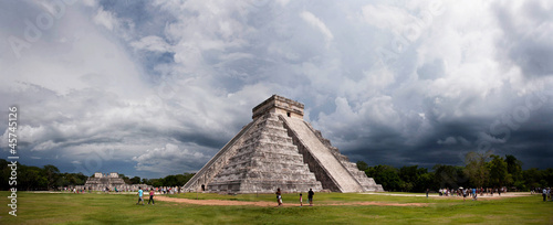 Mayan pyramid, the panorama of Chichen Itza, Mexico