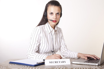 Beautiful young secretary working