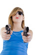 Young woman with guns