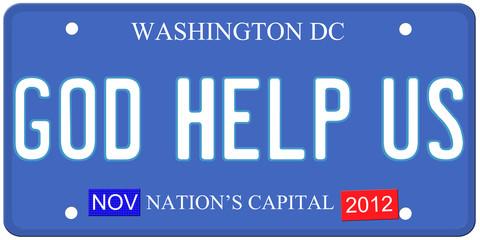 God Help Us Washington DC License Plate