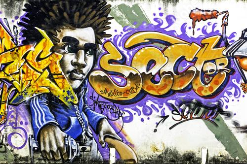 Graffiti on the white wall