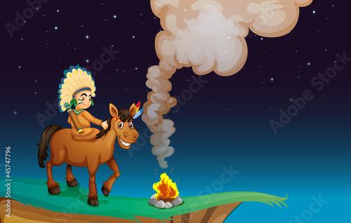 In de dag Indiërs man and horse