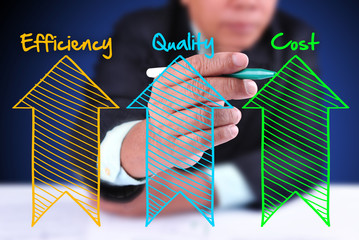business man writing industrial product and service improvement