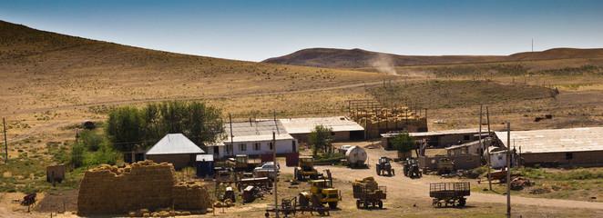 House for livestock in the steppe of Kazakhstan