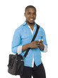 smiling black man with cellphone