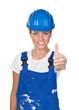 gratulation einer handwerkerin