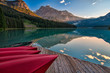 Canoe Dock with Mountain Reflection