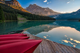 Canoe Dock with Mountain Reflection