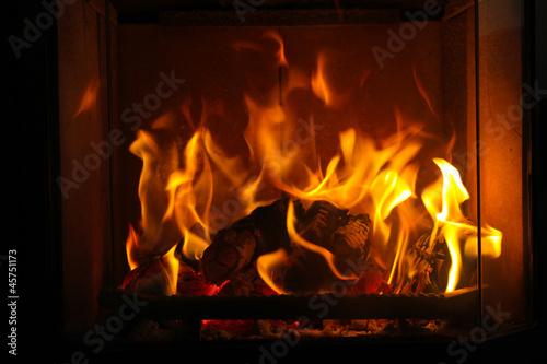Keuken foto achterwand Vuur / Vlam gemütliches Kaminfeuer