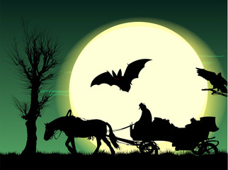 Night of Halloween: horse put to cart in field under full moon