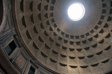 Interior view of the dome of the Pantheon in Rome, Italy.
