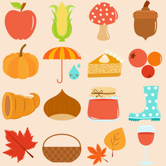 A Set of Cute Vector Icons : Autumn / Fall Theme
