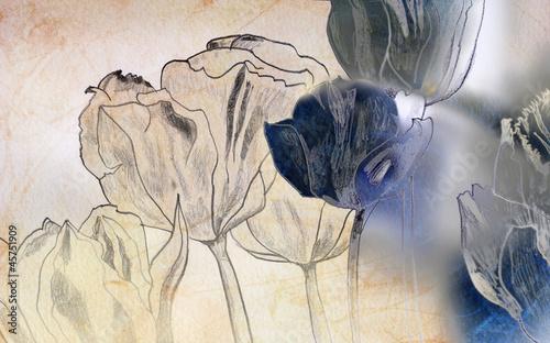 Naklejka Karte zeichnung trauer