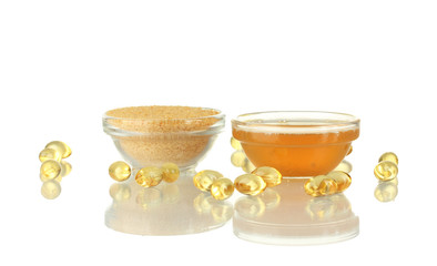 Gelatin in bowls isolated on white